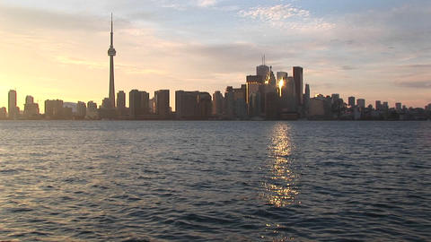 An early evening look at the CN-Tower and the Toronto skyline with reflections Footage