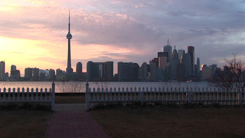 A lovely shot of the Toronto skyline at the golden-hour from one of the city's islands Footage