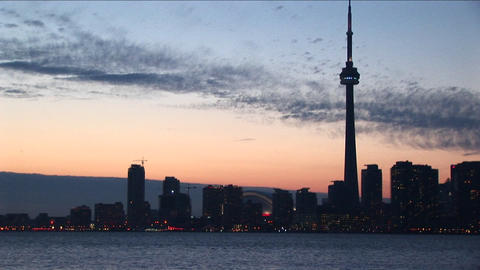View of Toronto's CN-Tower at golden-hour from one of the islands Footage