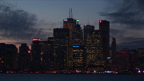 Toronto, at night, with lights from across Lake Ontario Footage