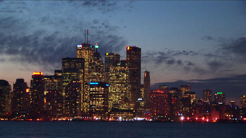 Long shot of the Detroit skyline Stock Video Footage