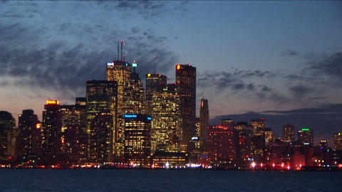 Long shot of the Detroit skyline Footage