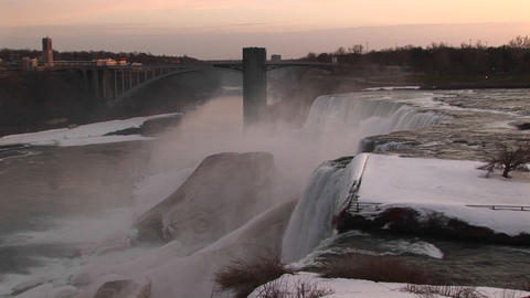 Niagara Falls in winter from the top looking toward the... Stock Video Footage