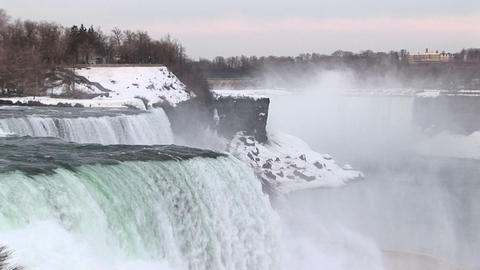 Long-shot of Niagara Falls in winter Stock Video Footage