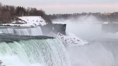 Long-shot of Niagara Falls in winter Footage
