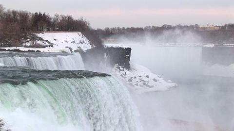 Long-shot of Niagara Falls in winter Stock Video Footage