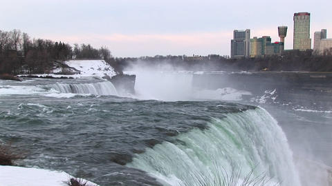 The mist rises from the bottom of Niagara Falls Stock Video Footage