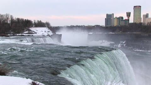 The mist rises from the bottom of Niagara Falls Footage