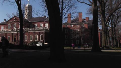 The camera pans across Harvard University' historic campus Stock Video Footage