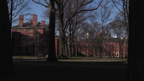 The camera pans across Harvard University' historic campus Footage