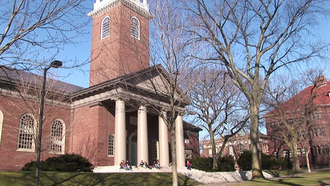 The camera pans up this picturesque church on Harvard... Stock Video Footage