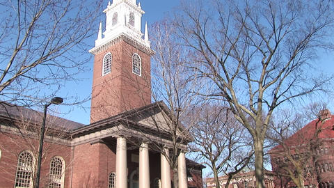 The camera pans up this picturesque church on Harvard University's campus Footage