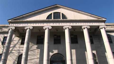 Panning down from the peak of Harvard's Littauer Center... Stock Video Footage