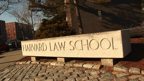 The Harvard Law School sign Footage