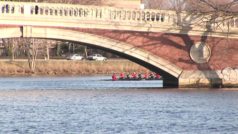 Long-shot of the Harvard University rowing team passing... Stock Video Footage