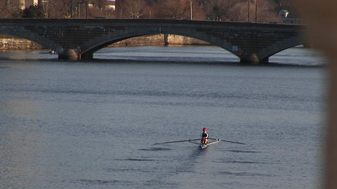 A longshot of a person sculling down the Charles River Stock Video Footage