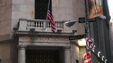 The New York Stock Exchange And The Wall Street Sign In The Financial District Of New York stock footage