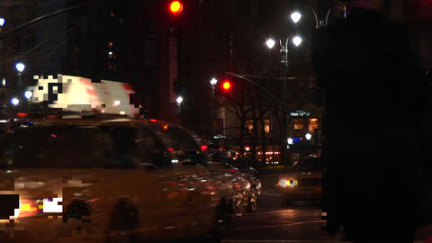 Downtown New York traffic at night Stock Video Footage