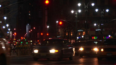 Downtown New York traffic at night Footage