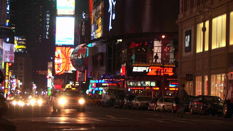 A wonderful view of downtown New York at night with traffic and advertising lights everywhere Footage