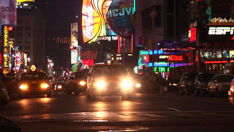 A one-way street in New York after dark with a multitude... Stock Video Footage