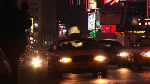 A busy intersection in New York City after dark Stock Video Footage