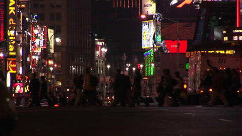 A busy intersection in New York City after dark Footage