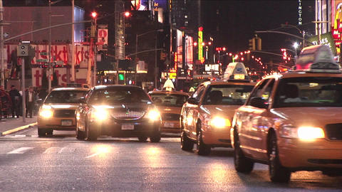New York City traffic as seen from the middle of a one-way street Footage