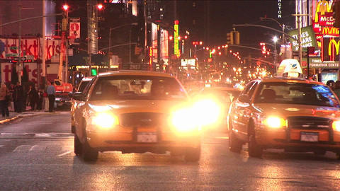Yellow taxis dominate the traffic scene in the big-apple Stock Video Footage