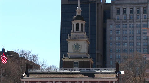 A wonderful view of Independence Hall, Philadelphia and the clock-tower on top Footage