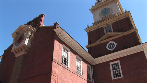 A look up at Independence Hall to the clock-tower near the top Footage