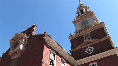 A look up at Independence Hall to the clock-tower near... Stock Video Footage
