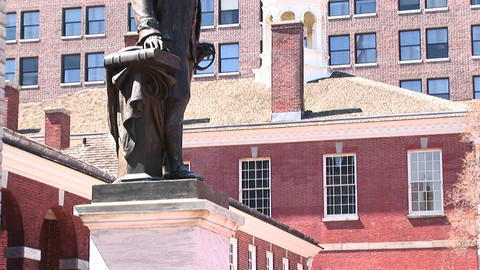 A statue of George Washington stands in front of Independence Hall, Philadelphia Footage