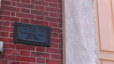 As the plaque indicates, this Philadelphia building is... Stock Video Footage