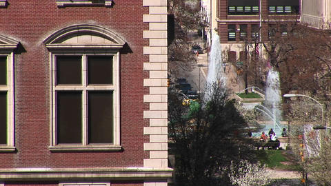 A look at a downtown park with fountains with a classical... Stock Video Footage