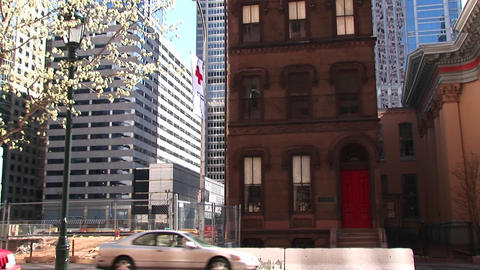 An older neighborhood of brownstone homes is clearly... Stock Video Footage