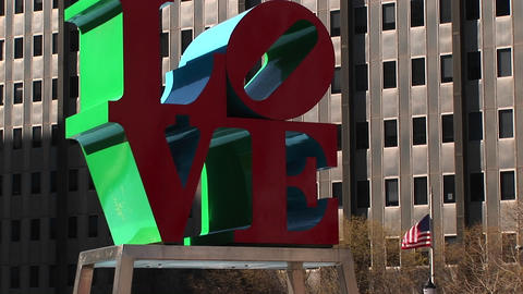 Robert Indiana's Love sculpture is one of Philadelphia's... Stock Video Footage
