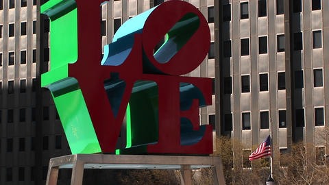 Robert Indiana's Love sculpture is one of Philadelphia's... Stock Video Footage