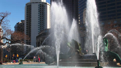 The camera pans up the Four Seasons' Fountains and the... Stock Video Footage