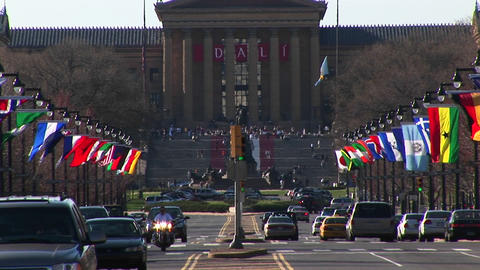 The Philadelphia Museum of Art is located at the end of... Stock Video Footage