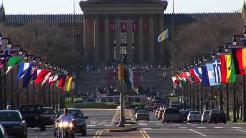 The Philadelphia Museum of Art is located at the end of colorful Benjamin Franklin Parkway Footage