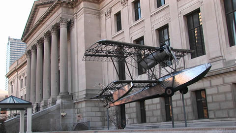 An interesting looking biplane is on exhibit outside Philadelphia's world-renowned Museum of Art Footage