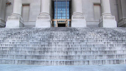 Pan up on a museum inscribed with the words In Honor of... Stock Video Footage