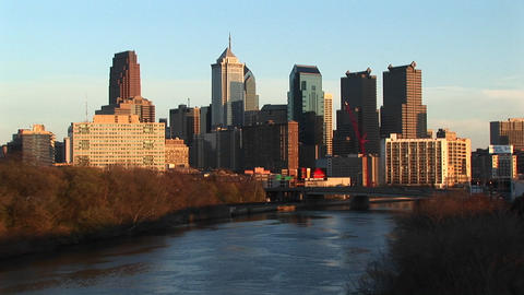 The skyline of Philadelphia towers above the Schuylkill River Footage