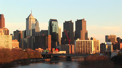 The skyline of Philadelphia towers above of the Schuylkill River Footage