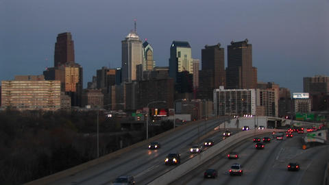 Traffic flows in and out of Center City Philadelphia... Stock Video Footage