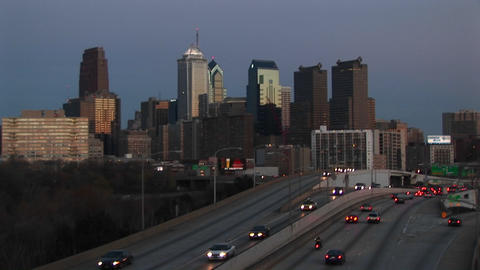Traffic flows in and out of Center City Philadelphia along I-76 Footage