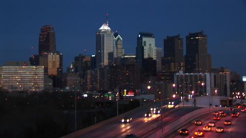 Chicago's downtown buildings light up the sky while... Stock Video Footage
