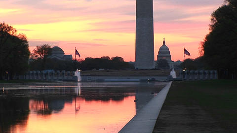 The Reflecting Pool in Washington, DC at base of Washington Monument lives up to its name in this go Footage