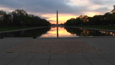 The Washington Monument is centered in this shot that... Stock Video Footage
